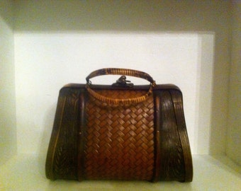 1960's Vintage Wood Box Purse Made with Bamboo