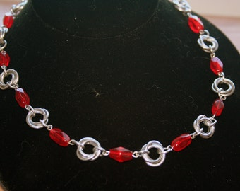 Mobius Ball or Love Knot Chainmaille Necklace  with Red Glass Accents