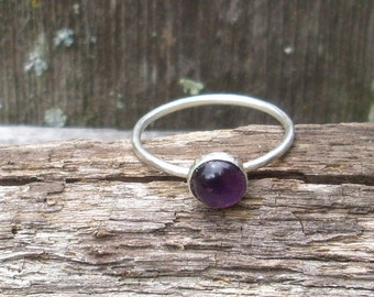 Amethyst Sterling Silver Stacking Ring