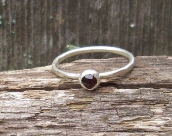 Garnet Sterling Silver Stacking Ring