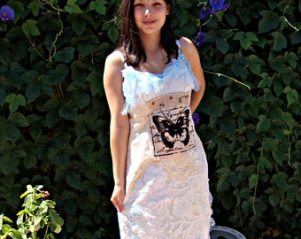 Wedding dress altered couture slip dress bridal upcycled lace butterfly blue cream off white repurposed tablecloth handmade one of a kind