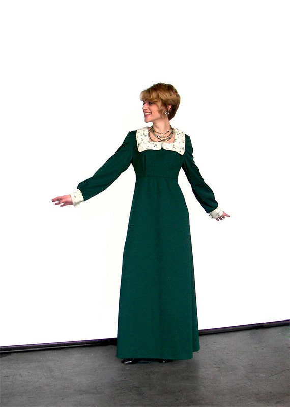 RESERVED for Gemma - Vintage 1960's Dark Green with Cream Flower Lace Collar Floor Length Renaissance Hippy Boho Dress