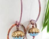 SALE - saturn earrings - glass, brass, rosy copper