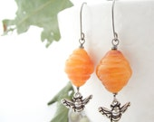 apiary earrings - vintage lucite, silver-plated bee charms, sterling silver