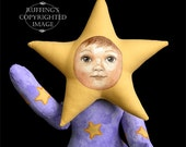 Art Doll, OOAK Original Star Baby, Hand Painted Folk Art Doll, Leah the Star Baby by Elizabeth Ruffing
