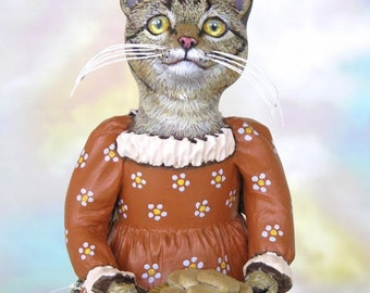 Art Doll, OOAK Original Tabby Cat, Hand Painted Folk Art Figurine Sculpture, Winifred by Max Bailey, Free Shipping Within The USA
