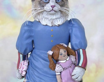 Art Doll, OOAK Original Ragdoll Cat, Hand Painted Folk Art Sculpted Doll, Maryanne by Max Bailey, Free Shipping Within The USA