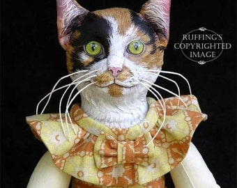 Art Doll, OOAK Original Calico Cat, Hand Painted Folk Art Doll with Bunny Rabbit, Hedda and Hopper by Max Bailey