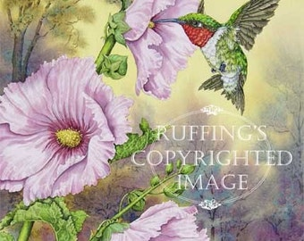 Hummingbird and Pink Hollyhocks 8.5 x 11 Giclee Fine Art Bird Print Signed A E Ruffing