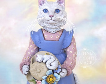 Cat Art Doll, OOAK Original White Turkish Angora, Hand Painted Folk Art Figurine Sculpture, Larissa and Piper by Max Bailey
