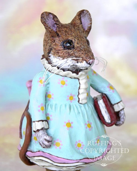 Art Doll, OOAK Original Mouse, Hand Painted Folk Art Figurine Sculpture, Marla by Max Bailey, Free Shipping Within The USA