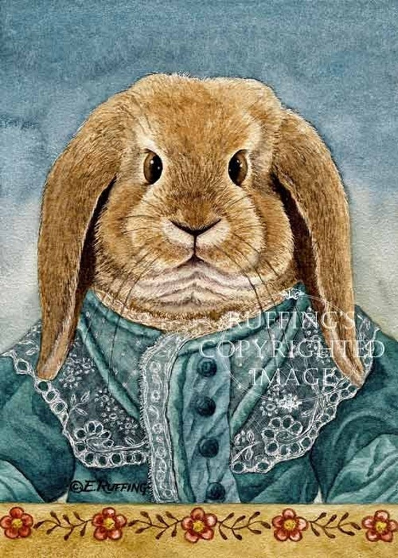 Anthropomorphic Lop Bunny Rabbit Giclee Fine Art Print, Blue Green, Gold Floral Border, Signed Elizabeth Ruffing, on 8.5 x 11 inch art paper