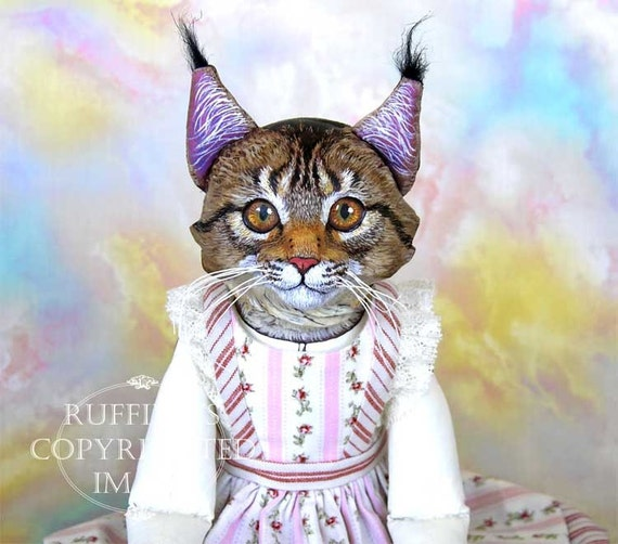 Art Doll, OOAK Original Tabby Maine Coon Cat, Hand Painted Folk Art Sculpted Doll, Chelsea by Max Bailey and Elizabeth Ruffing