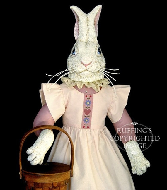 Rabbit Art Doll, OOAK Original Bunny, Hand Painted Folk Art Sculpted Doll, Lila Lovebunny by Max Bailey, Free Shipping Within The USA