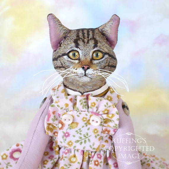 Art Doll, OOAK Original Tabby Cat, Hand Painted Folk Art Sculpted Doll, Meredith by Max Bailey, Free Shipping Within The USA