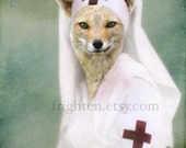 Fox Art Print Animal in Clothes 8x10 Inch Print, Red Cross Nurse, Fox in Dress, Animal Wall Decor, Gift for Nurse