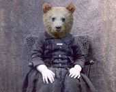 5x7 Bear Art Print, Mixed Media Collage Print, Charlie, Altered Victorian Portrait, Small Wall Art, frighten