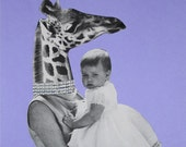 Pastel Purple Handmade Art, Mother's Day Special, One of a Kind Paper Collage, Giraffe Art