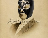 Lucha Libre Sepia Print, Mixed Media Collage, Portrait of a Luchador, 8x10 Altered Vintage Photo, For Him, Gift for Men