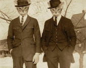 Cat Art Print, Abyssinian Cats, Animals in Clothes, Cats in Suits, Vintage Photography, Retro Art, Sepia Art, Anthropomorphic