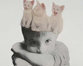 Retro Art Print, White Cat Art, Cat and Kittens, Surreal Art, Paper Collage, Black and White