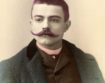 Victorian Art Print, Altered Photography, Man with Mustache, Handsome Man, Mixed Media Print, Colorful Art