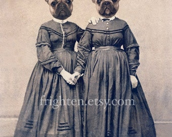 French Bulldog Art, Twin Art, Sisters Art, Anthropomorphic, Two Sisters, Dog Art, Mixed Media Art, Collage Art, 5x7 Print