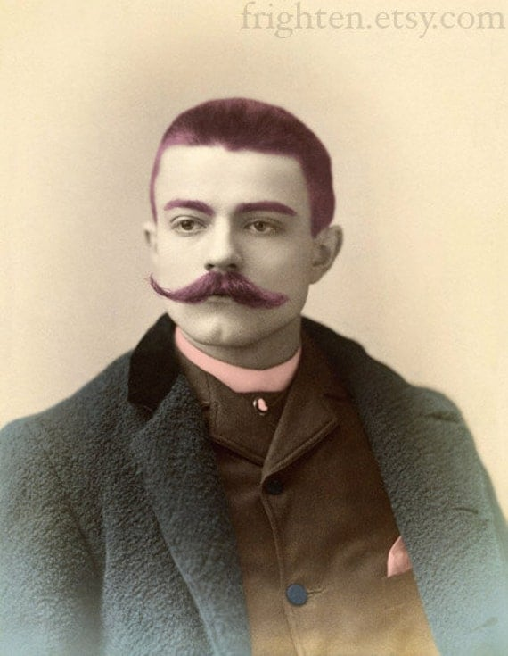Altered Art Print, Victorian Man, Handsome Man, Movember, Unusual Art, Unusual Portrait, Man's Portrait, Man with Mustache
