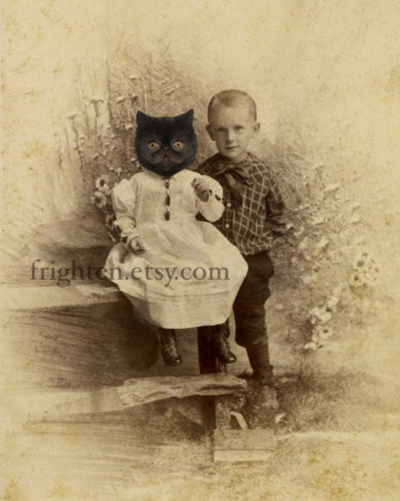 Black Persian Cat Art Print, Mixed Media Collage, My Sister Was a Cat, 5x7 Altered Antique Portrait of Brother and Sister
