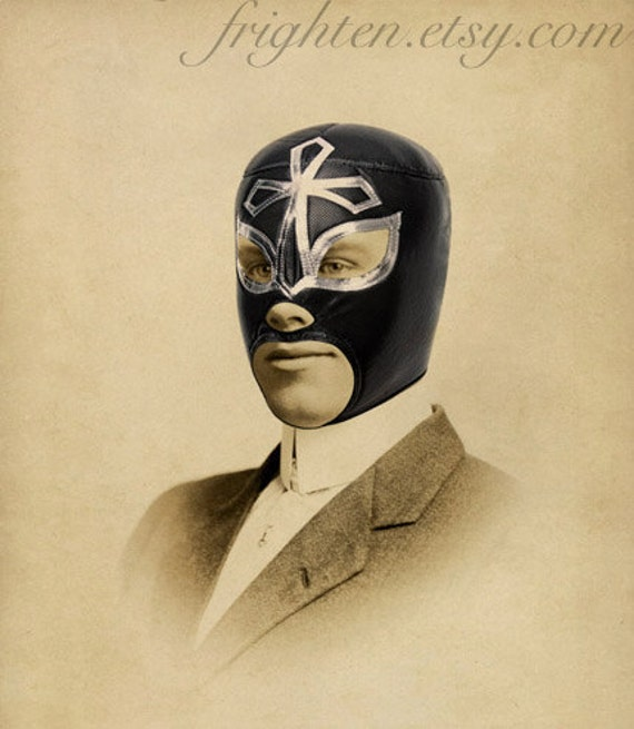 Lucha Libre Art Mixed Media Collage Print Portrait of by ...