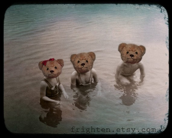 Teddy Bear Art, Anthropomorphic Art, 8x10 Print, Three Children Art, Children in Lake, Mixed Media Collage, Vintage Photography, Family Art