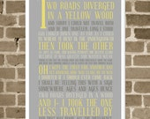 The Road Less Traveled Subway Art Poster - 12x18 Typography - Modern Gray and Yellow - Robert Frost Poetry Quote Art - The Road Not Taken