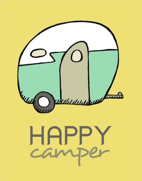 Happy Camper - Illustration of Vintage Camper - Typography and Illustration Print - Mustard Yellow and Aqua - Retro Camping and Travel Art