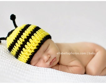 Bee hat with Antennas perfect for photo prop girl or boy FREE SHIPPING