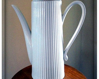 Vintage Large Very Tall Elegant White Fluted Porcelain Coffee Pot Beverage Pitcher w/Lid Perfect for Brunch Lunch Party, etc.