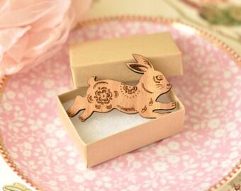 Rosie Wooden Rabbit Brooch
