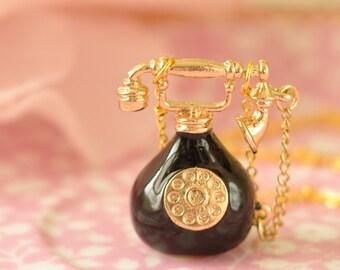 Debbie Gold & Black Vintage Telephone Pendant Necklace