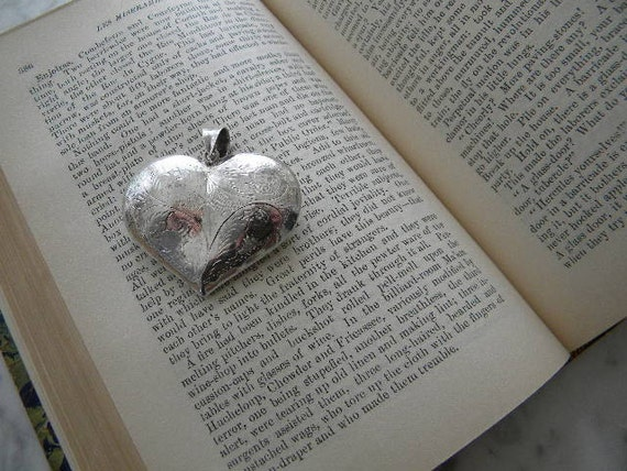 Sterling Etched Puffy Heart
