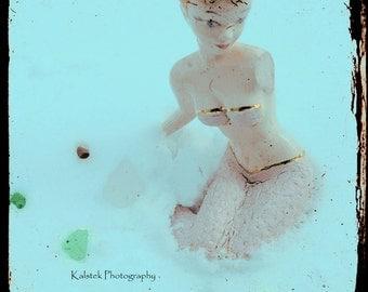 Retro Mermaid Photograph Aqua Blue Mint Green Dusty Pink Dreamy Vintage Mermaid Wall Decor 8x8