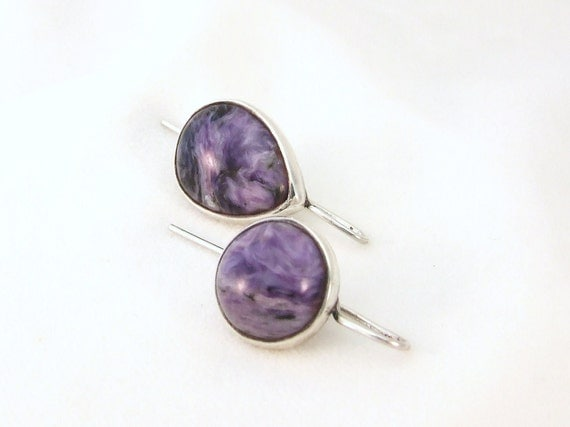 Purple Charoite Earrings Silver unique handmade gift, ready to ship