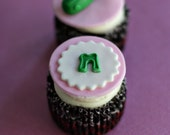 Fondant Baby Shower Pickle and Initial Toppers for Cupcakes, Cookies or other Treats
