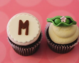 Fondant Pea Pod and Monogram Toppers for Baby Shower Cupcakes or Other Treats