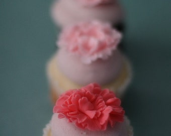 Carnation Fondant Flower Cupcake, Cookie or Mini-Cake Toppers for Birthday, Engagement, Baby Shower or Wedding Parties