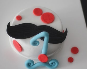 Fondant Mustache Cake Topper, Big Fancy Age, and Polka Dots perfect for a Smash Cake or Birthday Cake