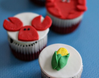 Crab, Lobster and Corn Cob Fondant Toppers Perfect for a Seafood Boil Party