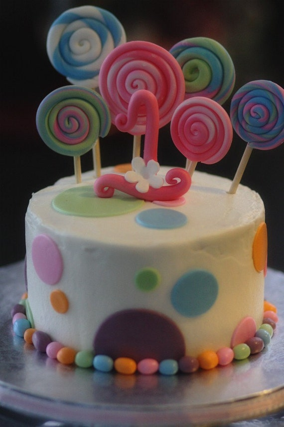 Fondant Candy Themed Decorations with Lollipops, Polka Dots and Big Fancy Age Topper Perfect for a Birthday or Smash Cake