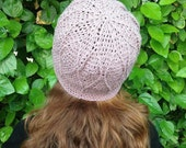 Fashionable and comfortable purple crocheted hat