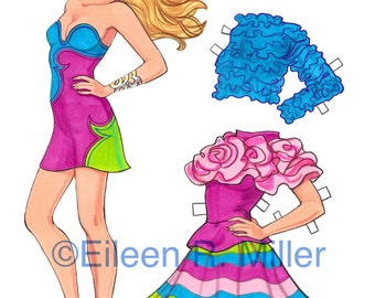Fashionista Paper Doll and costumes