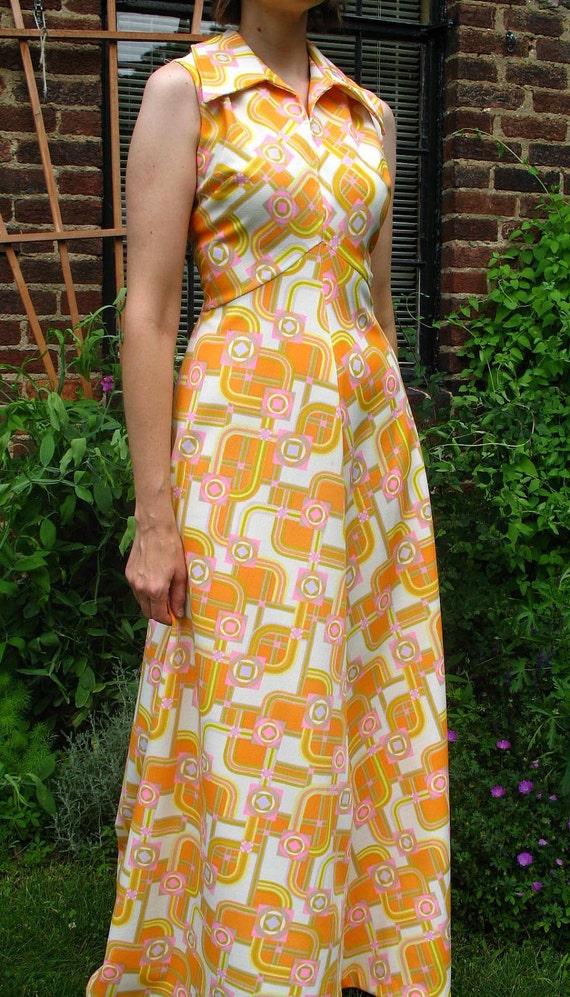 Vintage 70s MOD / Orange Yellow Pink and Brown Mustard /  Geometrical / Op Art /  Empire Waist / Sleeveless / Maxi Dress