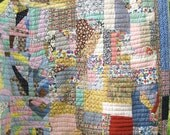 African American Crazy Patchwork Feedsack Antique Vintage Quilt - Superb